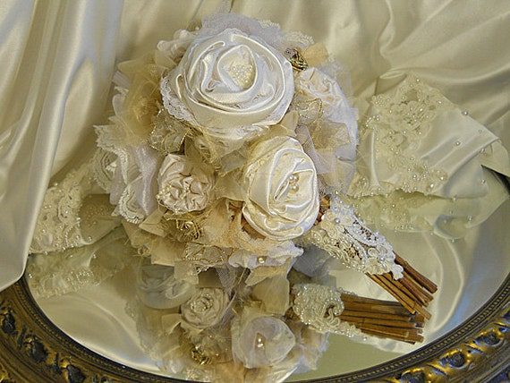 Beautiful Retro Vintage Bridal Wedding Bouquet handmade of ivory, whites, off whites, eggshell, creams, champagne, taupe & gold.