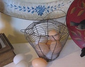 RESERVED for meheindl       Vintage wire egg basket Farm house Chic