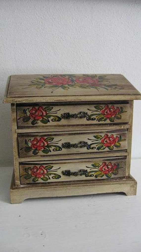 Wooden Musical Jewelry Box Chest Painted Cottage Style