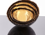 SET of 3 Gleaming Bowls-24 K gold with oxidised copper on the outside(small,medium&large)