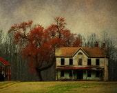 "farmhouse photograph office decor rustic farm photography landscape photo 8x12 rust burnt sienna ""Keep Farming Until Its all Gone"""