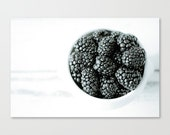 """fall harvest kitchen cook modern food photography rustic home decor white fruit cafe photo 5x7 photograph farmers market """"Blackberries l"""""""