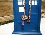 Tardis Blue II Galifreyan Runes in bronze necklace