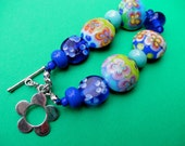 SALE Funky Fun Flower and Sterling Bracelet with beads by Leah Nelson