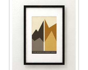 It Is Not The Mountain We Conquer But Ourselves - Giclee Print - Modernist Minimalist Illustration