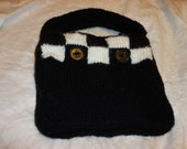 black and white checkerboard purse,hand knit