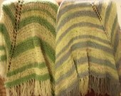 Cozy shawl, hand-knit of pastels, acrylic  blend yarns, light and airy, fringed
