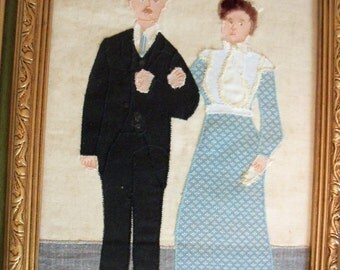"Textile picture ""Fabrication"": from wedding picture in 1905, applique fabric, embellished"