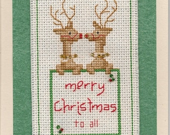 Cross Stitch Merry Christmas Card/Bookmark Finished Completed