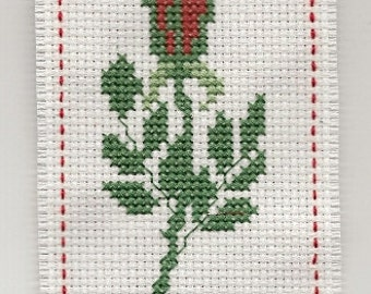 Cross Stitch  Bookmark Mother's Day Red Ribbon Finished Completed