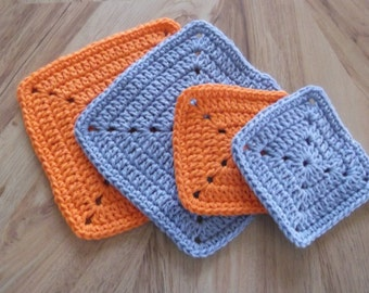 Crocheted Dishcloth, Wash Cloths, Pot Holders, Hot pads, and Coasters, Blue & Orange, 100 per cent Cotton Yarn, Hand made