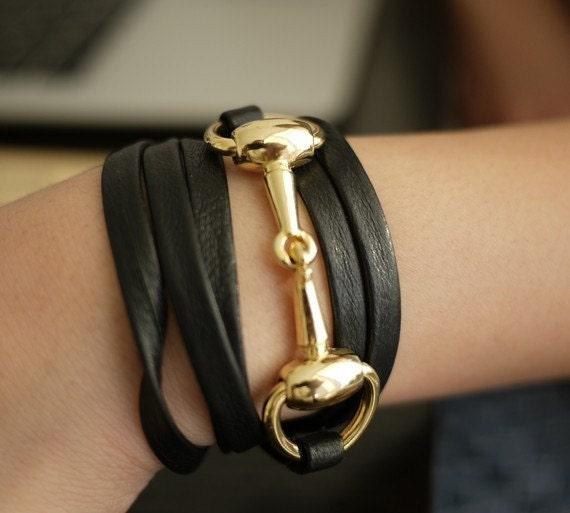 Leather wrap bracelet with gold horsebit hardware
