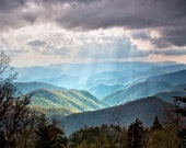 "Mountains, Blue RIdge, Parkway, sunbeams, blue, valley, light rays, Free Shipping  24Hx36W Photograph: ""New Beginning"""