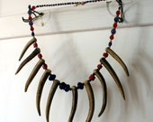 Rufio Bead and Bone Necklace Primitive Hipster Jewelry