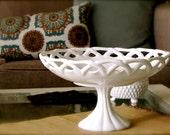 Vintage Milk Glass Pedestal Dessert Center Piece Bowl
