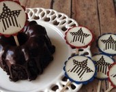Cupcake Toppers for Labor Day, Memorial Day, Fourth of July, Independence Day - Set of 12
