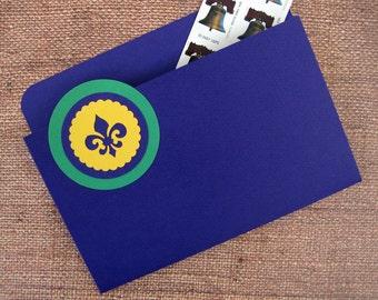 File Folder Magnet in Mardi Gras Fleur de Lis for Recipes, Coupons, Notes or Photos
