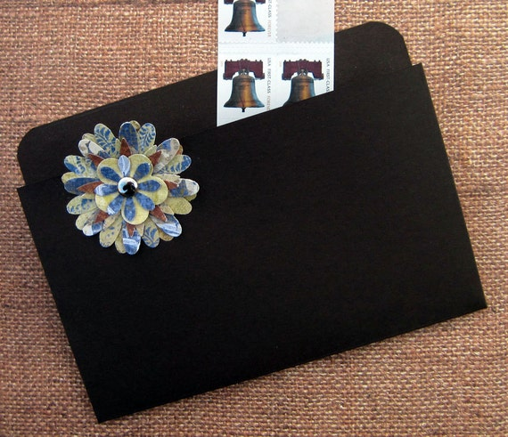 Refrigerator Folder Magnet and Coupon Organizer in Dark Brown with Multi Colored Blue Flower -RESERVED for amandah727