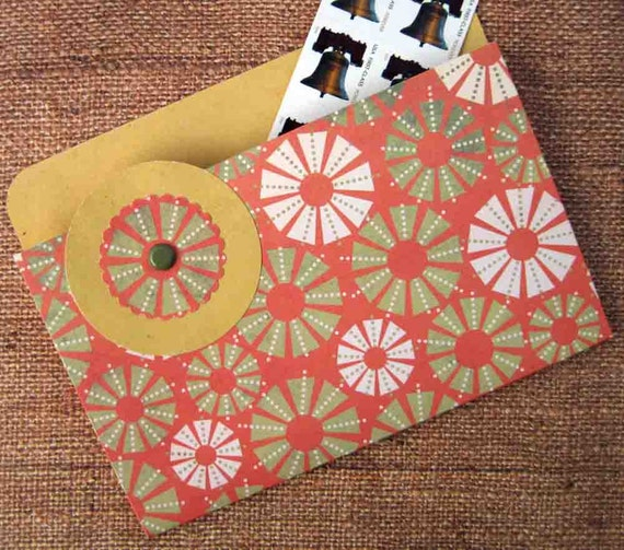 Refrigerator Folder Magnet and Coupon Organizer in Orangeand Green Circles for Coupons, Photos, Receipts and Recipes