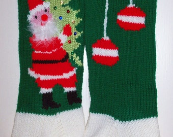 Hand Knit Christmas Stocking Old Pattern Children by Topinab