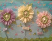 Original Mixed Media Whimsical Flowers Art Collage