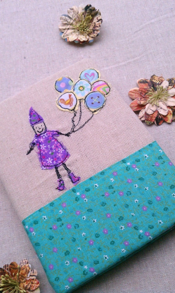 Girl with Balloons Fabric Journal