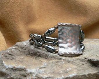 Bracelet Hematite Magnetic beads,  Antique Hammered Copper look  with easy on/off Magnetic clasp