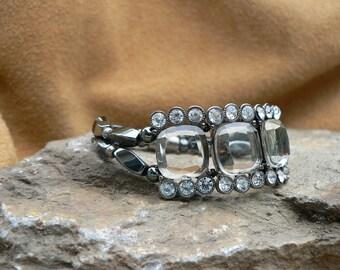 Smokey Rhinestones Hematite Magnetic Bracelet with easy on/off Magnetic clasp
