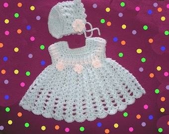 Baby Flowery Dress with Matching Hat Original CROCHET PATTERN Newborn-3 & 6-9 month sizes