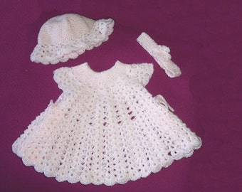 Pink Powder Puff Original CROCHET PATTERN Baby Dress with Headband and Hat