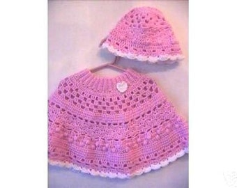 Sweet Heart Poncho and Hat Set CROCHET PATTERN - INSTANT Download