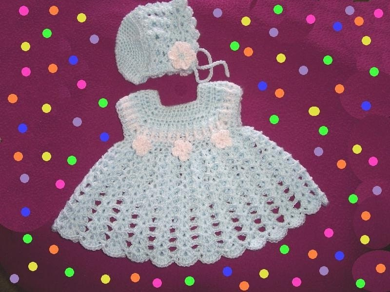 Crochet Baby Dress And Bonnet Pattern : Baby Flowery Dress with Matching Hat Original CROCHET PATTERN