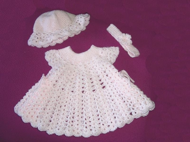 Crochet Patterns Dresses For Babies : Pink Powder Puff Original CROCHET PATTERN Baby Dress with