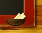 Framed Candy Apple Red Chalkboard with Chalk Cup/ Reclaimed Cabinet Door - 12 in size