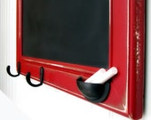 19 x 28 in. Framed Chalkboard in Barn Red / Large Size / Lightly Distressed /  Chalk Cup and Hooks in Oil-Rubbed Bronze