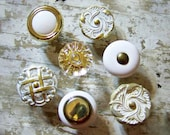 Wall Mount Knobs for Hanging Jewelry, Picture Frames, Scarves and More / Eclectic Collection of 7 (seven) Shabby White and Brass Knobs