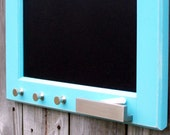 Ready to Ship /// Large 16 X 28 in. Aqua Framed Chalkboard with Mod Brushed Nickel Chalk Tray and Key Hooks