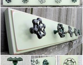 """Ready to Ship / 25"""" Coat Rack with Green Valve Handle Hooks / Pale Green Salvaged Board with Five ( 5 ) Garden Faucet Hooks"""