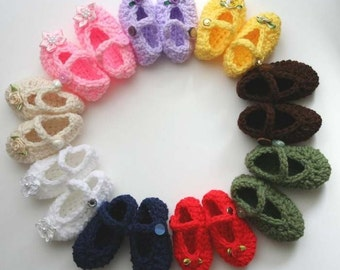 Crochet PDF Pattern No 14 Mary Jane Shoes For Baby, Permission to Sell Finished Items