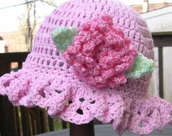 Crochet Pattern Ruffled Brim Hat With Flower, PDF Pattern No 21,  All Sizes Newborn To Adult, Permission To Sell Finished Items