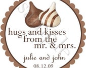 Hugs and Kisses Personalized Stickers - Wedding Stickers, Favor Labels, Wedding Favor, Chocolate, Candy Buffet - Choice of Size