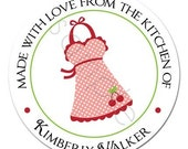 Vintage Kitch Cherry Polka Dot Apron Personalized Stickers - Party Favor Labels, Baking, Kitchen Sticker, Baked Goods, - Choice of Size