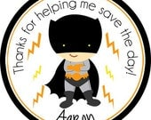 Superhero BatBoy Personalized Stickers - Party Favor Labels, Address Labels, Birthday Stickers, Superhero, Batman, Comic - Choice of Size