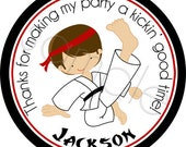 Karate Boy Personalized Stickers - Birthday Stickers, Party Favor Stickers, Karate, Martial Arts, Sports - Choice of Size