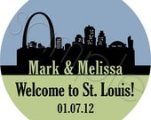 Custom Personalized Wedding Stickers - St Louis Skyline Personalized Stickers, Wedding Favor Stickers, OOT Guest Stickers - Choice of Size