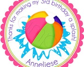 Girl Beach Ball Pool Party Personalized Stickers - Party Favor Labels, Address Labels, Birthday, Beach, Summer Fun - Choice of Size
