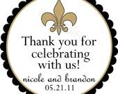 Luxe Fleur De Lis Personalized Stickers - Wedding Stickers, Favor Labels, Wedding Favor, Bridal, Chic - Choice of Size