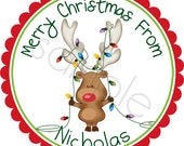 Personalized Christmas Stickers - Christmas Reindeer With Lights Personalized Stickers - Christmas Stickers, Holiday Labels - Choice of Size