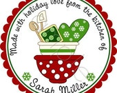 Christmas Stickers - Holiday Mixing Bowls Personalized Stickers - Baked Goods Stickers, Holiday Baking Labels - Choice of Size