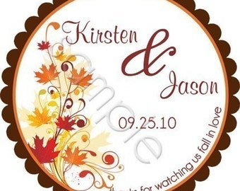 Fall Leaves Wedding Personalized Stickers - Wedding Stickers, Wedding Favor Labels, Gift Tag, Autumn, Envelope Seals - Choice of Size